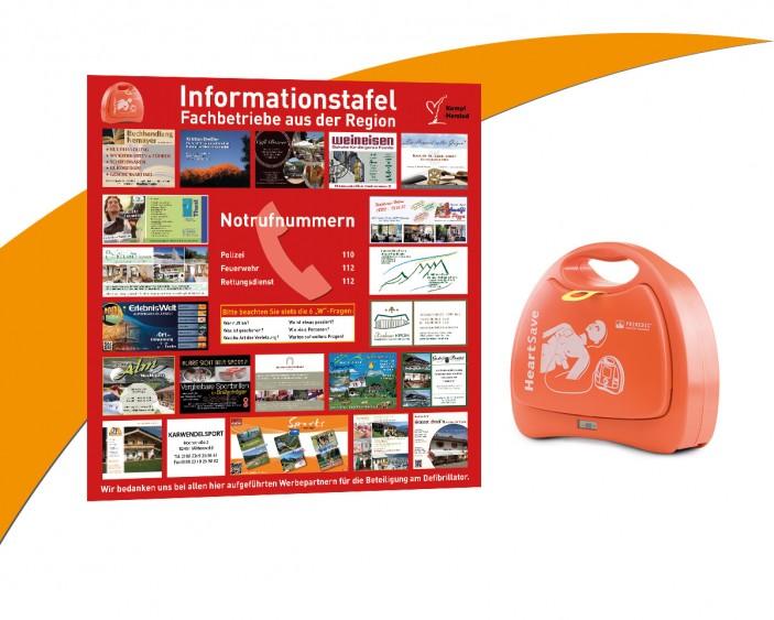 Infoplakat mit Defibrillator